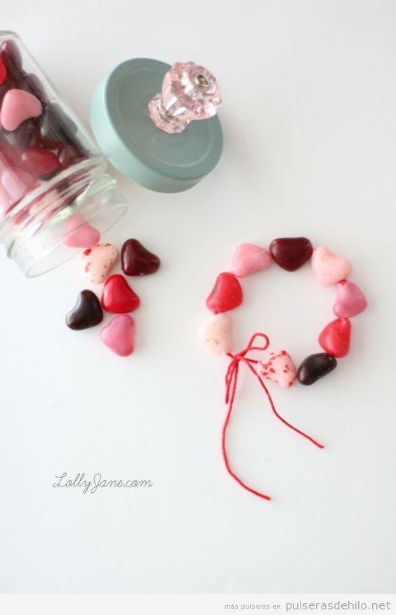 Pulsera hecha de caramelos con forma de corazón, regalo para San Valentín
