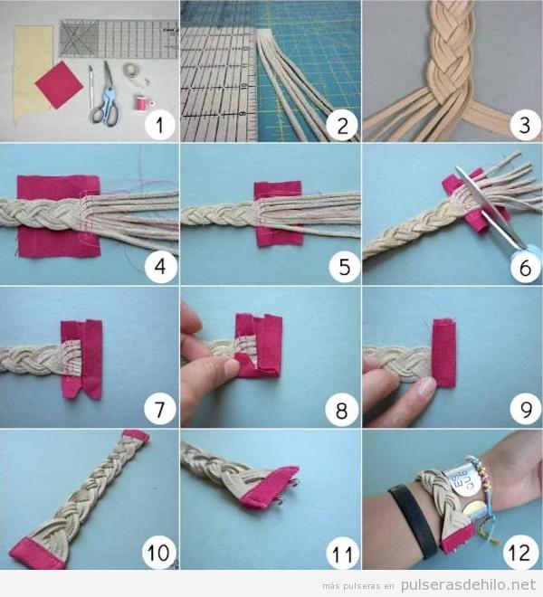 Brazalete DIY hecha con tiras de ante, tutorial fácil