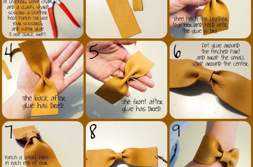 Tutorial para crear una pulsera de cuero con forma de lazo DIY, paso a paso