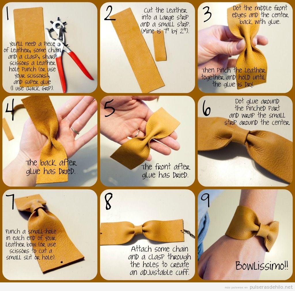 Tutorial para hacer una pulsera de cuero con forma de lazo