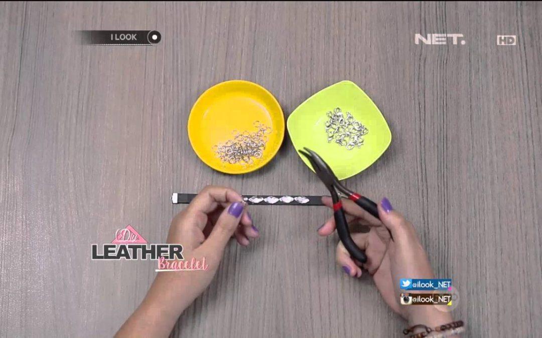 Pulsera hecha a mano con tiras de cuero y brillantes (videotutorial)