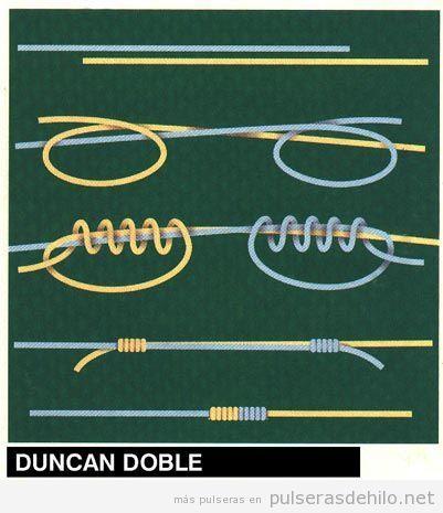 Tutorial pulsera de cuerdas, cómo hacer el nudo duncan doble