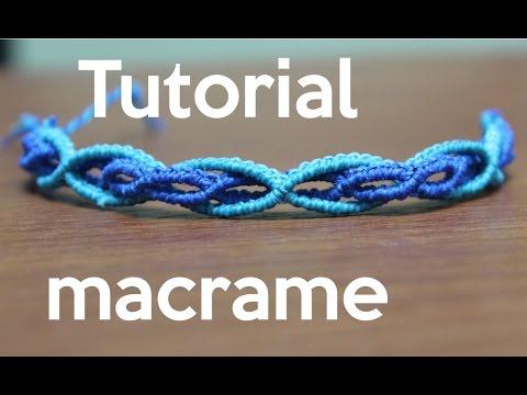 Pulsera en macramé con ondas en dos azules, fácil de hacer (Vídeo)