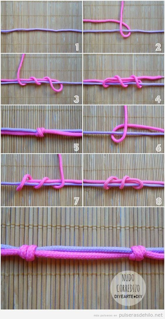 Cómo hacer un nudo corredizo para pulseras de cuerdas