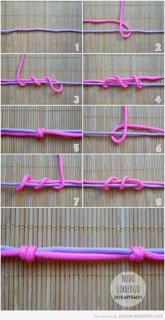 Tutorial nudo corredizo pulsera cuerdas