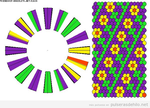 Tres patrones para hacer pulseras kumihimo con estampados de flores
