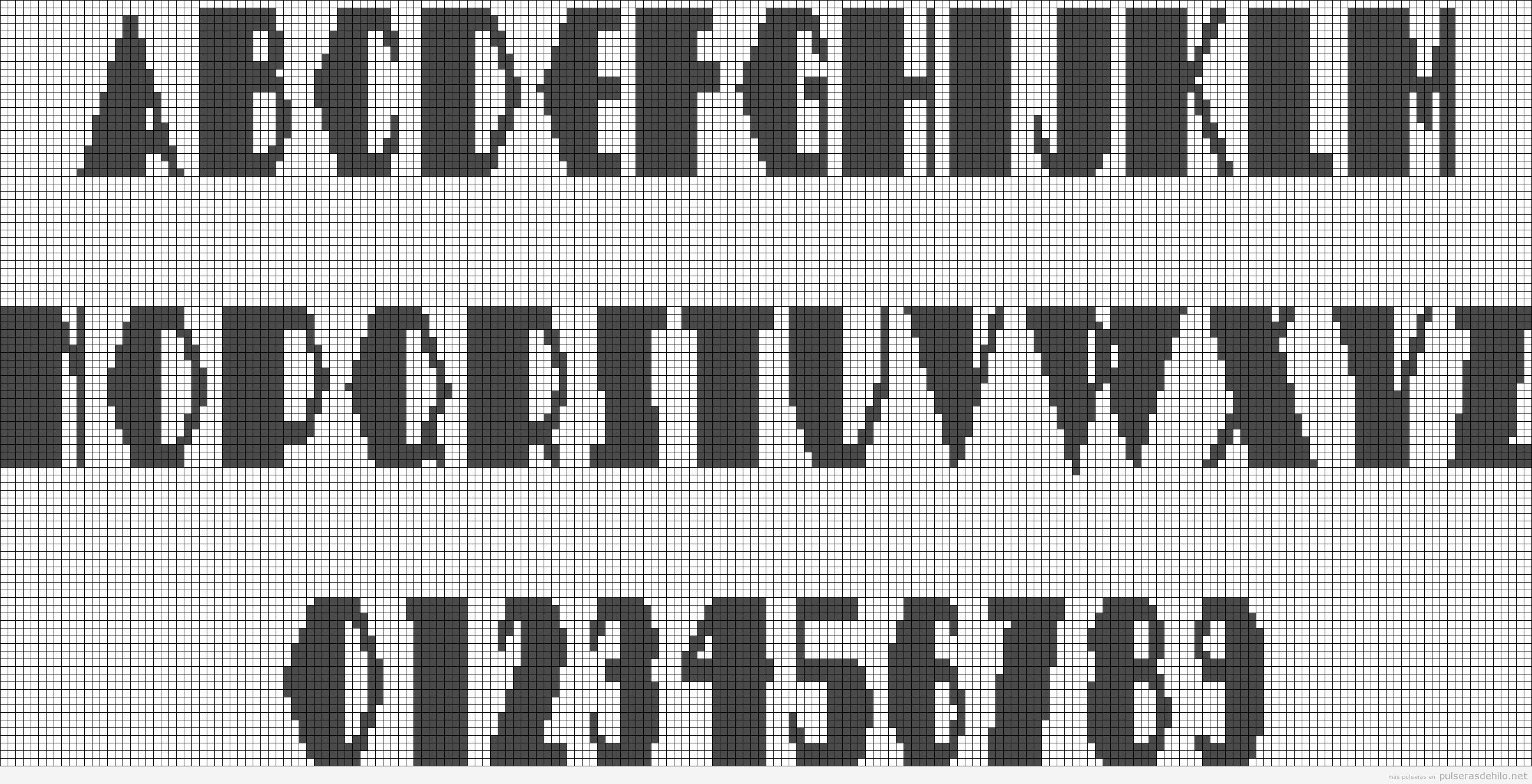 Plantillas alpha alfabeto para hacer pulsera de hilo con nombres 2