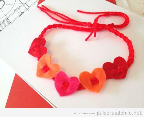 Pulseras DIY fieltro niños para regalar San Valentín