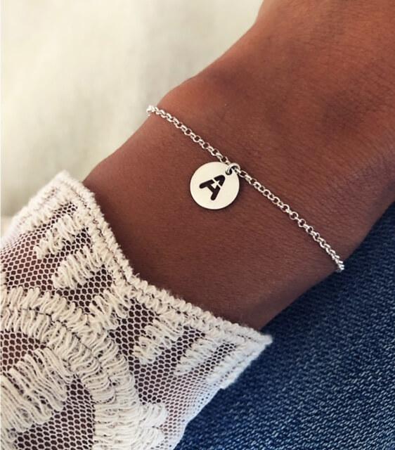Pulseras de plata personalizada para mujer con iniciales