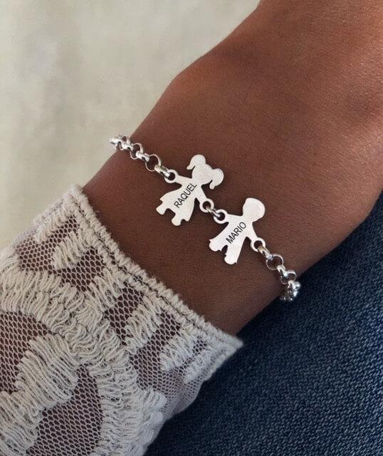Pulseras de plata personalizada para madres
