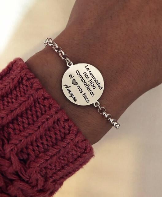 Pulseras de plata personalizada para mujer con mensaje